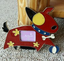 Vintage Metal And Enamel Cartoon Dog Picture Frame Fold Out Stand