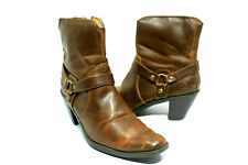 DURANGO Brown Texas Harness Ankle Boots Heels Women's Size US 9 M