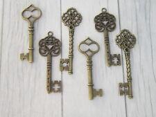 Vintage Style Ornate Steampunk Large Antique Bronze Metal Key Charm DIY Santa 6
