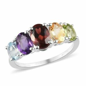 Natural Authentic Handmade Ring Size K 5 Gemstone Jewelry 925 Sterling Silver