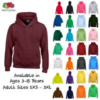 Boys Girls Plain Hoodie Childrens Kids Ages 1- 15 Hooded Fleece Sweatshirt Top