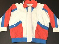 Vintage London Towne Retro Color Block USA Olympics Hip Hop Windbreaker Sz Lg B3