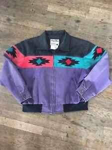 Vtg 80s 90s Pioneer Wear Bomber Jacket Mens L Purple Black Red Turquoise Navajo