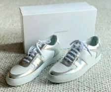 NIB $475 - COMMON PROJECTS BBALL LOW DUO TONE WHITE & SILVER  Sz 9
