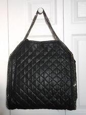 NWT Auth $1445 Stella McCartney Falabella BIG Quilted Tote Bag Handbag, Black