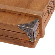 10pcs Jewelry Gift Box Wooden Case Trunk Corner Decor Protector Bronze Tone