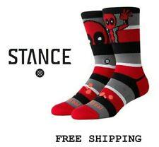 Stance Anthem Socks Men's Deadpool Stripe Marvel Crew Red Socks Large 9-13 New