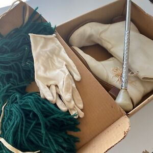 "Vintage 1970s Majorette Drill Boots Sz 8 Pom Poms White Gloves Baton 25"""