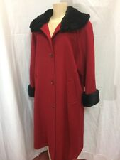 Forecaster of Boston -Red Wool Maxi Coat -Fox Fur Collar and cuffs -Lined -Sz 4