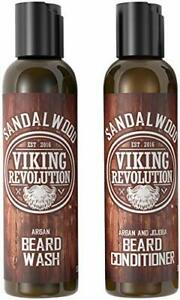 Beard Wash & Conditioner Set w/Argan & Jojoba Oils - Softens & 5 Ounce