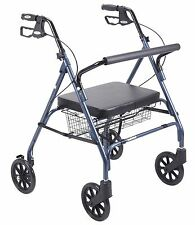 Blue Heavy Duty Rollator Walker with Wheels, 500 lb Cap, Basket, Padded Seat