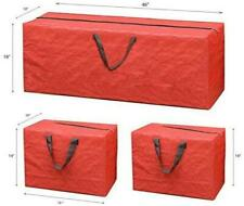 Durable 3pc Christmas Tree Decorations Lights Storage Bag RED