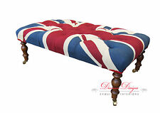 Union Jack Design Chesterfield Deep Buttoned Footstool/Coffee Table