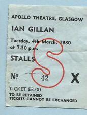 1980 Ian Gillan from Deep Purple Concert Ticket Stub Glasgow UK Glory Road