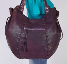 LUCKY BRAND Extra Large Purple Leather Shoulder Hobo Tote Satchel Purse Bag