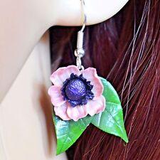 Pink Anemone Hook Earrings, Handmade Polymer Clay, Nature, Vintage, Boho, Kitsch