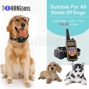Dog Shock Collar w/ Remote Waterproof Electric For Large Yard Pet Training ATF