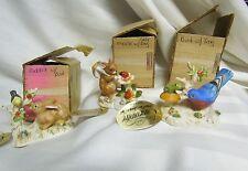 Vintage 1976 Enesco Frankly Speaking Bird Frog Mouse Rabbit figurine NEW 3 Lot