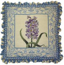 "18"" x 18"" Handmade Wool Needlepoint Petit Point Hyacinth Pillow with Tassels"