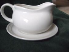 NIB White Progressive International Ceramic GRAVY BOAT wPLATE Serving Set