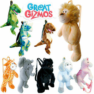 Great Gizmos Plush Backpacks - Lion Dinosaur Giraffe Unicorn Elephant Dog & more