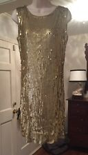 NWT MICHAEL Michael Kors  Womens Gold Sequined Tank Dress Low Back M $169