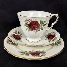 Vintage Queen Anne China Trio Tea Cup Saucer Side Plate Set Red Roses 1960's Vgc