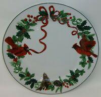"Royal Norfolk Christmas Cardinals Red Birds 10"" China Dinner Plate NWT"