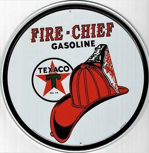 Platte Metall Vintage USA Texaco Feuer Chief Gasoline - Rund 30 CM