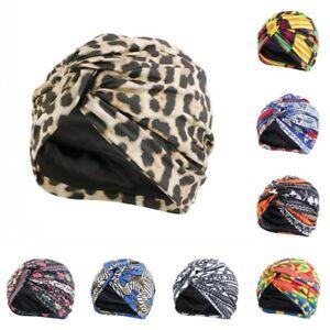 Boho Printed Cross Knot Hats Africa Muslim Women Soft Wraps Turban Caps Headwear