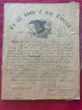 New listing Authentic ,Civil War Discharge Paper 51st Illinois Regiment 1866 Infantry