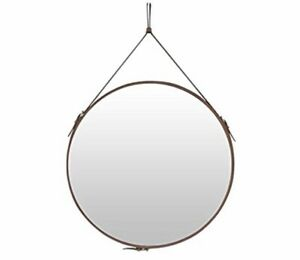 Round Wall Mirror Decorative Mirror, Hanging Mirror with Hanging Strap Silver Ha