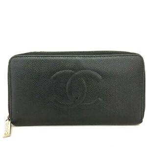 CHANEL CC Logo Black Caviar Skin Zip Around Long Wallet /C1177