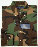 NWT $125 Polo Ralph Lauren Oxford Long Sleeve Shirt Mens Camouflage Brown Green