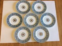 "SET OF 7 WEDGWOOD FLORENTINE TURQUOISE FRUIT MEDALLION 8"" SALAD PLATES W2714"