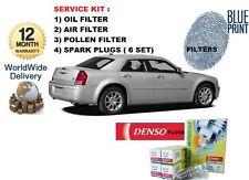 FOR CHRYSLER 300C 3.5 V6 2005-> SERVICE KIT OIL AIR POLLEN  FILTER + SPARK PLUGS