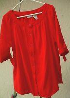 WHITE STAG 1X SOLID RED SEERSUCKER CRINKLE BABYDOLL SLEEVE TIES BLOUSE TOP WOMEN