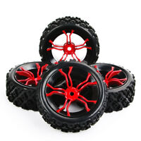 4PCS Rubber Tyre Wheel 12mm Hex Rim For RC 1/10 Rally Racing Off Road UK