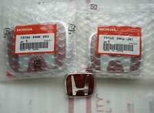 06-15 Honda Civic 4DR Sedan JDM RED H Front Rear Steering Wheel Emblem 3PCS Set