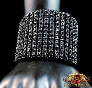 New Amazing Men's Black Gold Finish 12 Row Diamond Simulated Crystal Bracelet