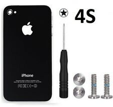 Replacement Rear Glass Back Cover Battery Door For iPhone 4S A1387 Black Screws