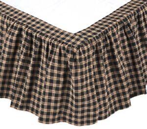 Queen Bed Skirt Red Black Country Plaid Dust Ruffle Split Corners Bingham Star