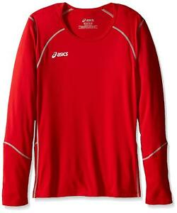 ASICS Unisex-Child Jr. Volleycross Quick-Dry Long Sleeve Top, Red/Steel Grey, L