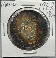 1962 Mo UN 1 Peso Coin PQ * Rainbow & Deep Blue & Halo Toning Toner GEM BU UNC