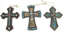 Western Crosses Turquoise (Faux) Stone Large Christmas Ornaments - Set of 3 New