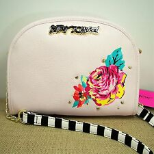 Betsey Johnson Crossbody Purse Rose Blush Pink Faux Leather Black White Strap