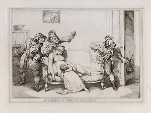 "THOMAS ROWLANDSON 1790 etching ""Disturbers of Domestic Happiness"" antique print"