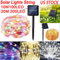 100 / 200 LED Solar Power Fairy Lights String Lamps Party Wedding Outdoor Garden