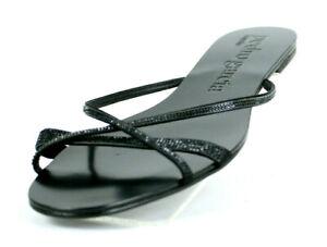 PEDRO GARCIA Black Crystal Jeweled Satin Flat Slides Sandals 38 NEW