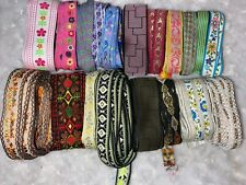 """Lot 40 yards assorted jacquard woven embroidered sewing trim ribbon 3/8""""-1.5"""" wd"""